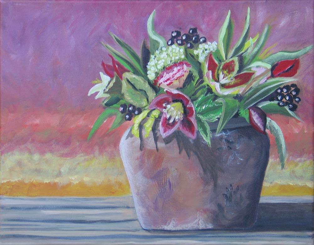 Pot met bloemen donkerrood