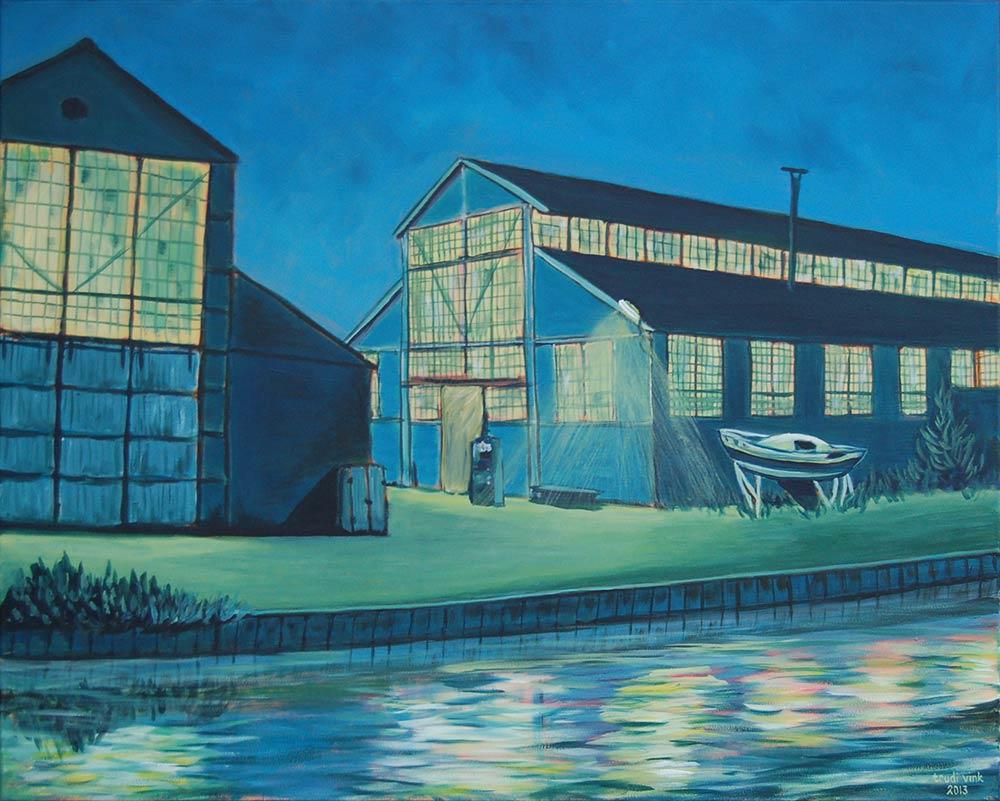 Touwfabriek bij avond
