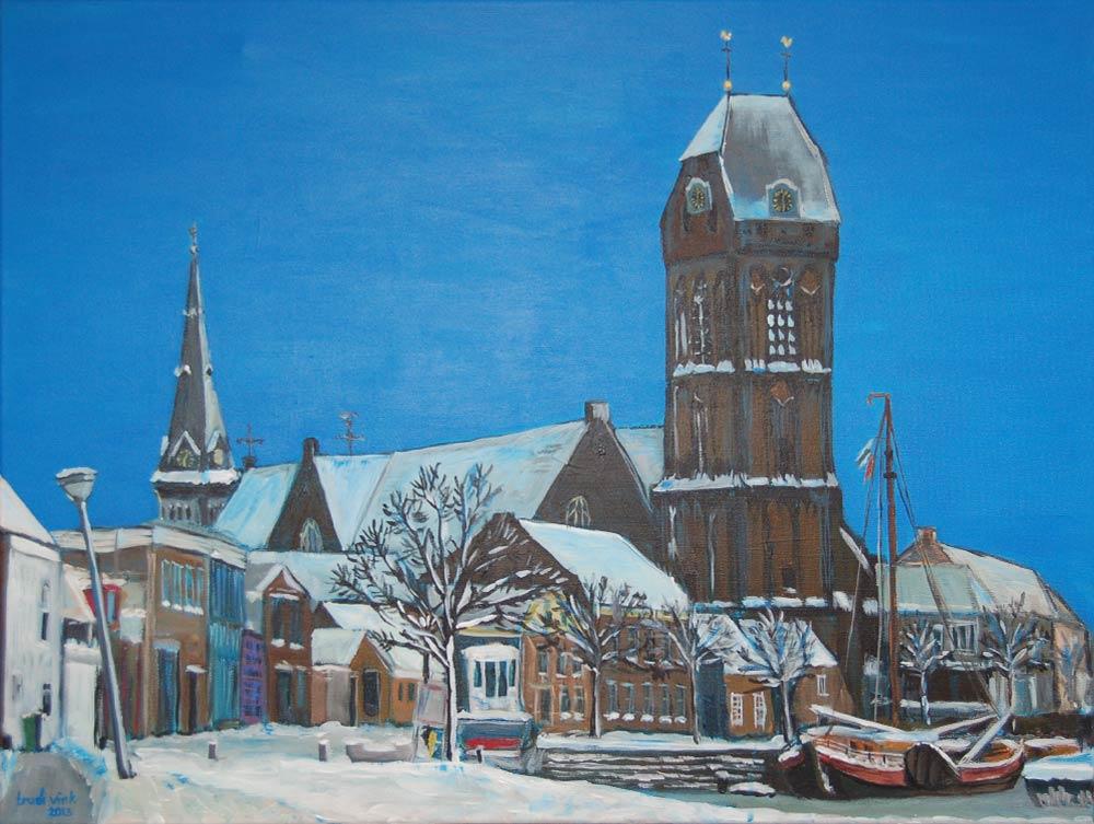 Stadsgezicht in de sneeuw