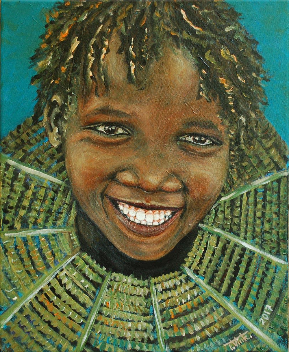 Afrikaans meisje met kraag